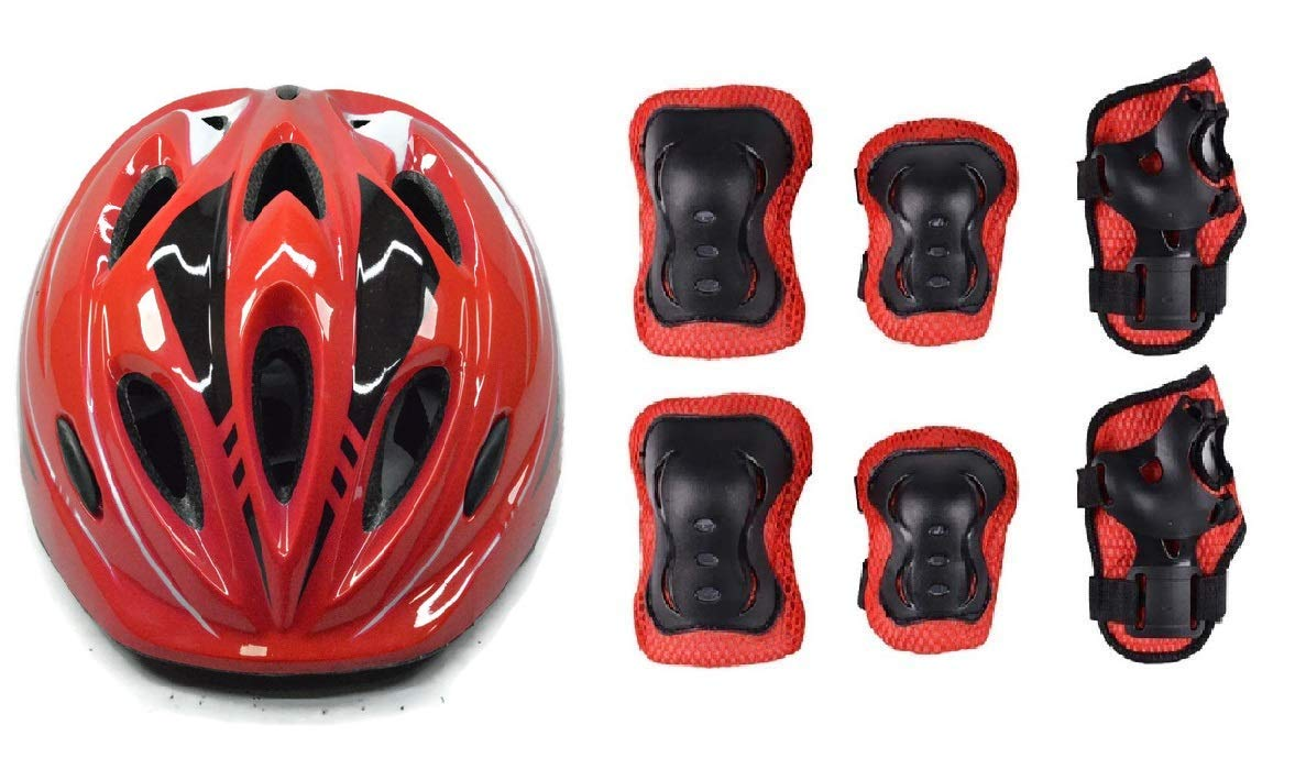 JERN 7 Pieces Kids Children Roller Skating Bicycle Cycling Scooter Helmet Knee Elbow Pad Wrist Guard Set(Red)