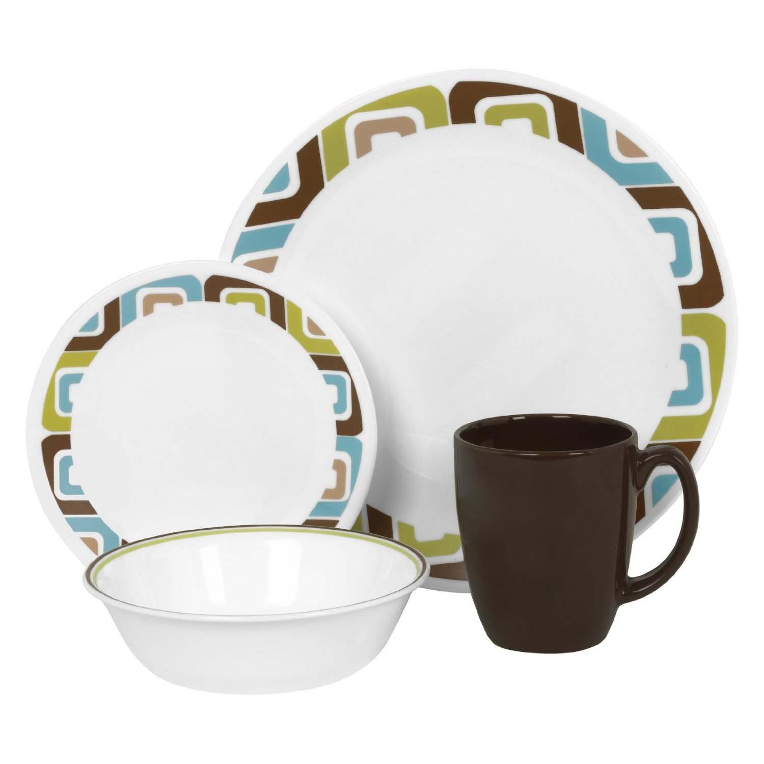 Amazon.com : Corelle Dishes Set Corelle dishes are fantastic for a mobile life – we use a set on both the RV and boat. Lightweight, come in many fun patterns, pretty indestructible and microwave safe.