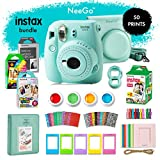 NeeGo Instax Mini 9 Instant Camera Bundle - Deluxe Kit with Camera, Matching Case & 4 Fun Film Packs-Rainbow, Stained Glass, Monochrome & White 50 Exposures for Instant Creative Photos-Ice Blue