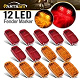 Partsam Rectangle 4' x 2' 7 Red & 7 Amber Side Marker Lights Double Bubble 12 Diodes, 2x4 Double Bullseye LED Trailer Clearance and Side Marker Lights Turn Signals 3 Wire