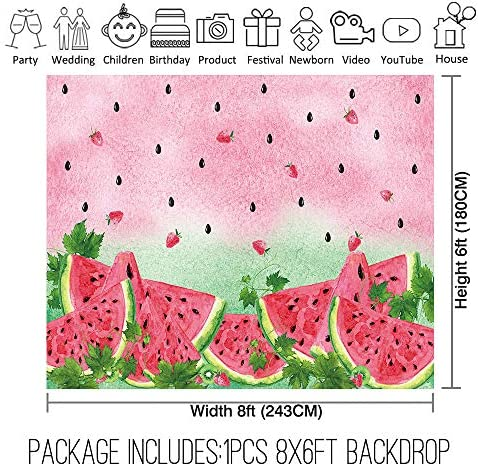 Allenjoy 8x6ft Summer Watermelon Photography Backdrop Supplies for Newborn Kids Girls Boys Birthday Party Decorations Fabric Baby Shower Studio Portrait Pictures Shoot Props Favors Banners Background 2