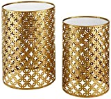 Product review for Set of Two Contemporary Round Gold Nested Tables with Mirror Tops (OSLN). Glamorous Design and Style in Gold Leaf Finish Nesting Tables. Assembly Required