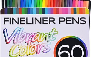 Fineliner Color Pen Set (HUGE SET OF 60 COLORING PENS) Colorful Ultra Fine 0.4mm Felt Tips in 30 Individual Colors - Porous Point Marker - Perfect for Drawing & Adult Coloring Books