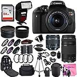 Canon Rebel T6i Digital SLR Camera + Canon EF-S 18-55mm + Canon EF 75-300mm Lens + 0.43 Wide Angle & 2.2 Telephoto Lens + Macro Filter Kit + 64GB Memory Card + Camera Works PRO Accessory Bundle