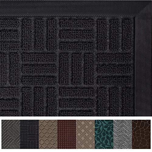 Gorilla Grip Original Durable Rubber Door Mat, 47x35, Heavy Duty Doormat for Indoor Outdoor, Waterproof, Easy Clean, Low-Profile Rug Mats for Winter Snow, Entry, Patio, High Traffic Areas, Black Maze