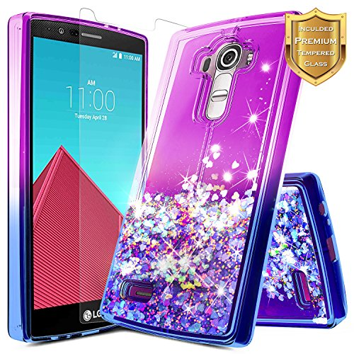 LG G4 Case w/[Tempered Glass Screen Protector], NageBee Glitter Liquid Quicksand Waterfall Floating Flowing Sparkle Shiny Bling Diamond Girls Cute Case -Purple/Blue