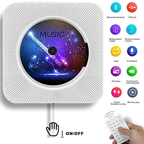 AONCO Portable CD Player, Bluetooth Wall Mountable CD Music Player Home Audio Boombox with Remote Control FM Radio Built-in HiFi Speakers, MP3 Headphone Jack AUX Input Output, White