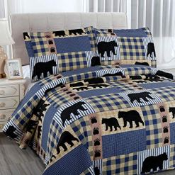 Oliven Blue Plaid Lodge Bedding Set