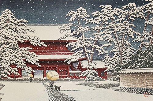 "Japanese Art Print ""Zojoji Temple in Snow"" by Kawase Hasui"