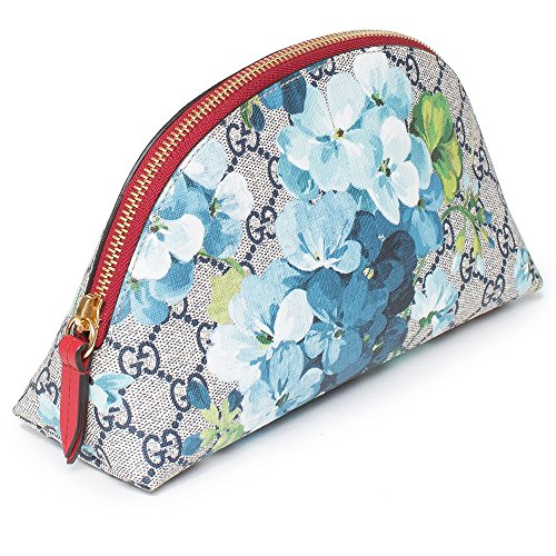 61hCJSEiucL A new line for 2016, classic Gucci elements.Large Blooms Cosmetic Case Blue. This pouch is crafted of GG monogram coated canvas in brown and beige with a blue and white floral pattern overlay on the front and back. The red top zipper opens with a long leather zipper pull to a navy blue fabric interior. This is a magnificent zip pouch, sure to get noticed, from Gucci! Gucci blooms-print GG supreme canvas and leather lined cosmetic bag. GG Blooms Bag, Blue/Multi. Dimensions: Length: 8.75 in Width: 3 in Height: 5 in