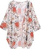 OLRAIN Women's Floral Print Sheer Chiffon Loose Kimono Cardigan Capes (Small, Red-1)