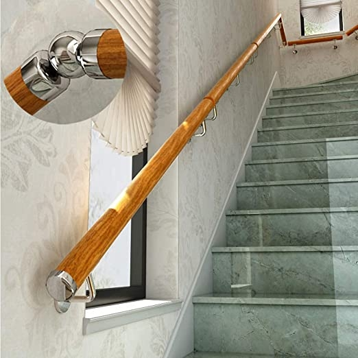 Amazon Com Zzjj 1Ft 20Ft Non Slip Wooden Stair Handrails Wall | Wall Mounted Handrails Wood | Stair Handrail Bracket | Capozzoli Stairworks | Stair Parts | Wood Staircase Handrail | Wrought Iron