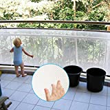 Adsoner Child Safety Net - 10ft L x 2.5ft H, Balcony, Patios and Railing Stairs Netting, Safe Rail Net for Kids/Pet/Toy, Sturdy Mesh Fabric Material, White Color