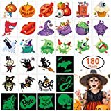 180pcs Assorted Halloween Tattoos, 30 Designs including 36 Glow in the dark Children Tattoos Halloween Trick or Treat Ghost Monster Pumpkin Tattoos