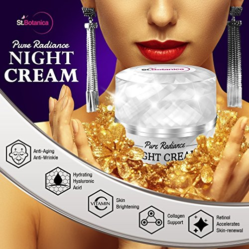 61hdeOliCzL - StBotanica Pure Radiance Night Cream - Intensive Firming, Anti-Aging & Skin Brightening, 50gm (With Vitamin C, Retinol, Hyaluronic acid, Collagen)