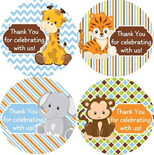 2 Inch Thank You Stickers Safari Animals Set of 60