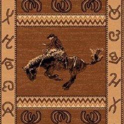 Cowboy Riding Horse Area Rug