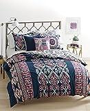 Whim by Martha Stewart Wild Child 3 Piece Full / Queen Comforter Set Dark Blue with Aztec Inspired Prints