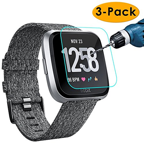 KIMILAR [3-Pack] Screen Protector Compatible Fitbit Versa/Versa Lite Edition Smartwatch, Waterproof Tempered Glass Screen Protector [9H Hardness] [Crystal Clear] [Scratch Resist] [No-Bubble]