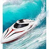 INTEY RC Racing Boats (25miles+) 17 Inches Large Double Waterproof Remote Control Speed Boat with Fine Tuning Capsize Recovery for Kids and Adults Contain 2 Batteries