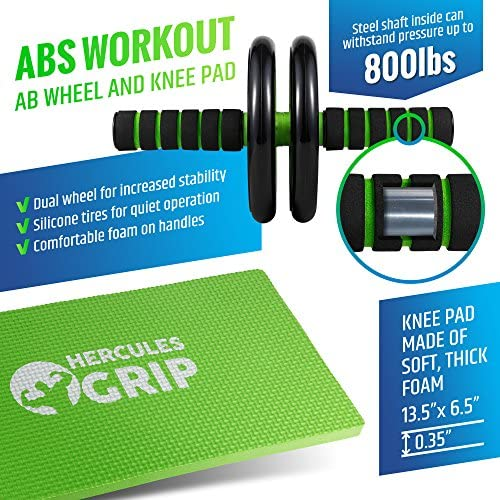 HerculesGrip Ab Wheel Roller, Adjustable Jump Rope, 2x Dual Sided Gliding Discs & 3x Loop Resistance Bands 4-In-1 Home Gym Total Body Workout Equipment Set -For Core, Cardio, Abs, Legs & Arms Training 4