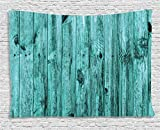 Turquoise Tapestry Art Decor by Ambesonne, Blue Rustic Wooden Texture Background Antique Timber Furniture Vintage Artsy Print, Bedroom Living Room Dorm Wall Hanging, 80 X 60 Inches, Teal