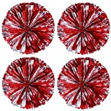 4 Pack Cheerleading Pom Poms Sports Dance Cheer Plastic Pom Pom for Sports Team Spirit Cheering (Red Silver)