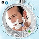 "iLuv Water Resistant Portable Bluetooth Shower Speaker with Large Mirror (6.2""x 5.3"") for Easy Viewing, Hands-Free Function, Suction Cup, Flexible Strap and Stand - iPhone, Samsung Phone and More"