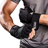 Weight Lifting Gloves with Integrated Wrist Wrap, Light Microfiber & Anti-Slip Silica Gel Grip Glove for Gym Workout, CrossFit, Weightlifting, Powerlifting, and Running-Pair