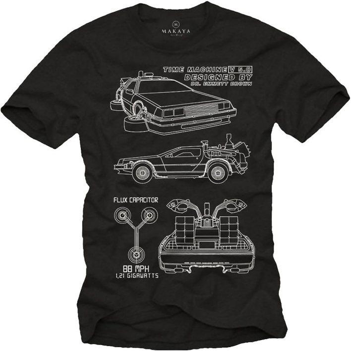 MAKAYA Camisetas Frikis Hombre - Futuro - T-Shirt Delorean