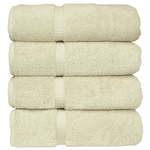 Chakir Turkish Linens Turkish Cotton Luxury Hotel & Spa Bath Towel, Bath Towel - Set of 4, Cream