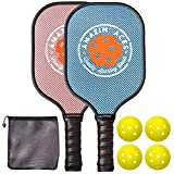 Amazin' Aces Pickleball Paddle Set | Pickleball Set Includes Two Graphite Pickleball Paddles + Four Balls + One Mesh Carry Bag | Rackets Feature a Graphite Face & Polymer Honeycomb Core (Blue & Pink)