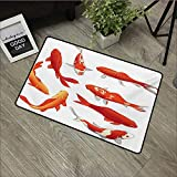 Bathroom mat W19 x L31 INCH Koi Fish,Legendary Koi Fish Band Chinese Good Fortune and Power Icon Tranquility Image,Orange White with Non-Slip Backing Door Mat Carpet