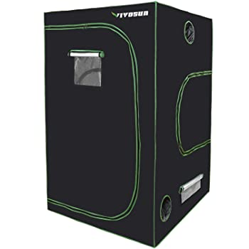 "VIVOSUN 48""x48""x80"" Mylar Hydroponic Grow Tent with Observation Window and Floor Tray for Indoor Plant Growing 4' x4'"