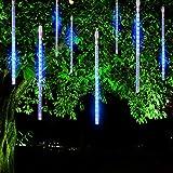 FYYZY Meteor Shower Rain Lights Christmas LED Decoration Falling Drop String Light Icicle 8 Tube (Blue, 30cm)