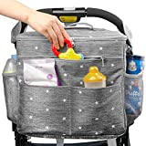 Stroller Organizer Bag with Extra Large Storage.Travel Bag with Shoulder Strap for Carrying Bottles,Diapers,Toys and Snacks.Insulated Cooling System,Cup Holder & Storage Pockets