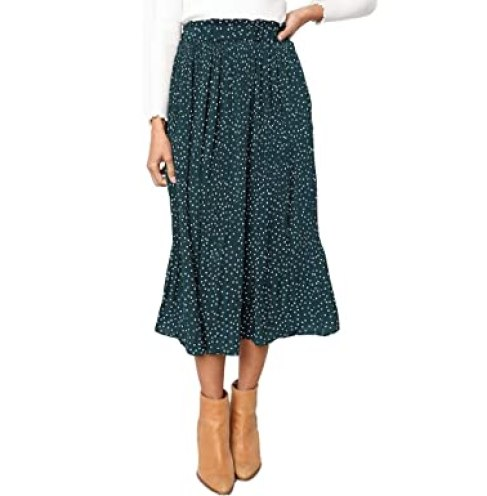 Exlura Womens High Waist Polka Dot Pleated Skirt Midi Swing Skirt with Pockets Green