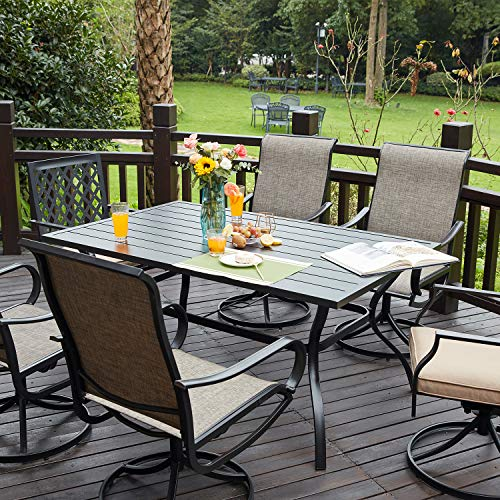 Vicllax Outdoor Patio Dining Table, Outdoor Patio Dining Table With Umbrella Hole