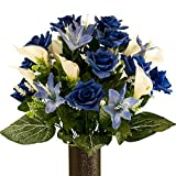 Blue Rose with Blue Tiger Lily, Artificial Bouquet, featuring the Stay-In-The-Vase Design(c) Flower Holder (MD2072)