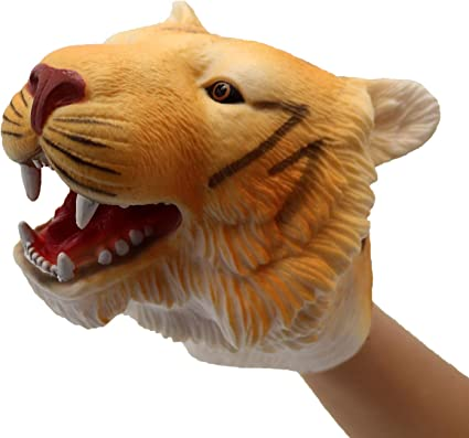 Amazon.com: ifkoo Tiger Hand Puppet Soft Cute Realistic Rubber ...