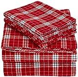Pinzon 160 Gram Plaid Flannel Sheet Set - Queen, Bordeaux Plaid - FLSS-BRPL-QN