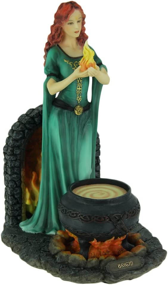 Veronese Resin Statues Brigid Goddess Of Hearth & Home Standing Holding Sacred Flame Statue 7 X 9.5 X 5.5