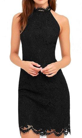 Zalalus Lace Dress, Elegant High Neck Sheath Black Cocktail Dresses for Women Wedding Party US 4