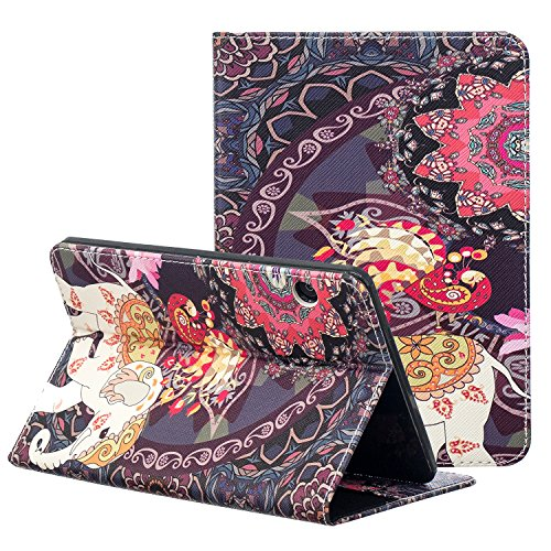 Kindle Voyage E-reader Case, ZAOX Colorful Painting Leather Stand Flip Folio Card Holder Shell Slim Wallet Case Auto Wake/Sleep Smart Protective Cover for Amazon Kindle Voyage 2014 (Elephant Floral)