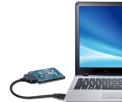 powseed sata usb変換アダプター 22ピン SATAケーブル 2.5インチ HDD/SSD ハードドライブ 電源ケーブル USB3.0 高速 給電不要 30cm