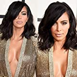 NiceToBuy Glueless Short Wavy Bob HairCut Lace Front Wig with Side Bangs Brazilian Virgin Human Hair Wigs for Women #1 Jet Black Color 10inch