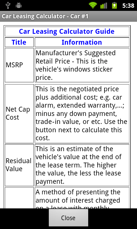 com car leasing calculator free app for android