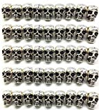 QTMY 4mm Hole Macroporous Skull Metal Spacer Beads for DIY Halloween Crafts Jewelry Making Supplies in Bulk (Antique Silver)
