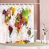 NYMB Urban Colorful World Map Shower Curtains, Vintage Watercolor Splashing Map for Kids, 69X70in Polyester Fabric Shower Curtain Hooks