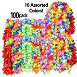 Wall2Wall Mega Luau Leis 100 Pack Hawaiian Theme Multi Colorful Tropical Summer Floral Necklace Simulated Silk Lei, Party & Wedding Favors (100)